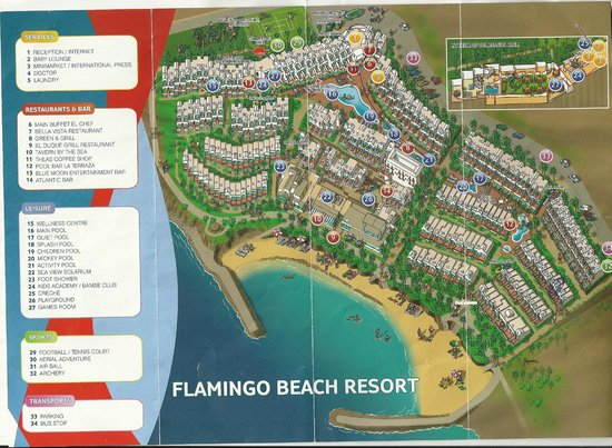 Tui Family Life Flamingo Beach Resort Hotel Grounds Map