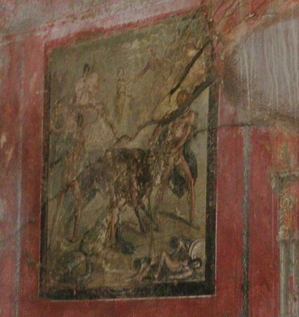 House of Menander (Casa del Menandro) : Room 19's painting showing Satyr and Maenad