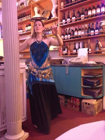 Olympic Flame Restaurant: Belly dancer on Friday night