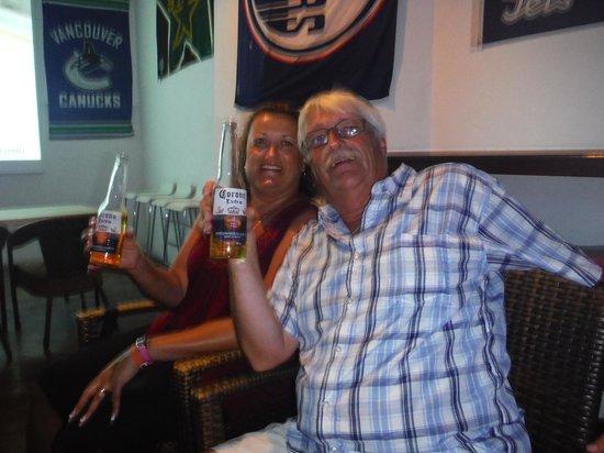 End Zone Sports Bar : Enjoying our Coronas