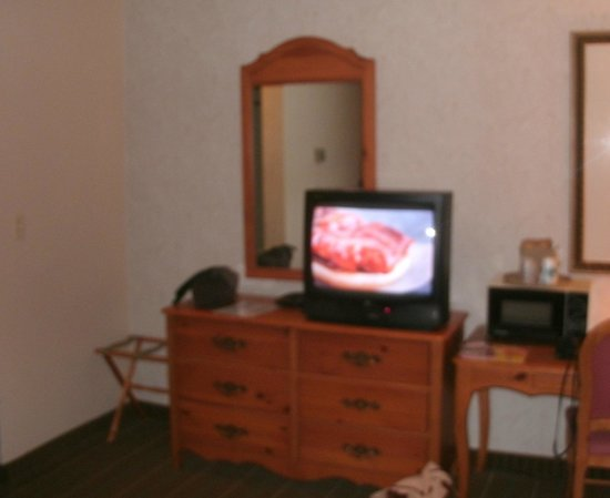 Ohio House Motel : Desk, TV, & microwave in our room