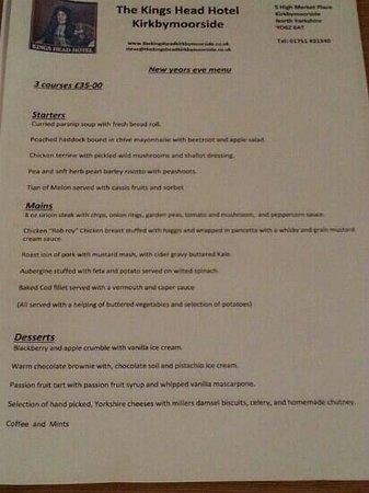 Kings Head Hotel: menu