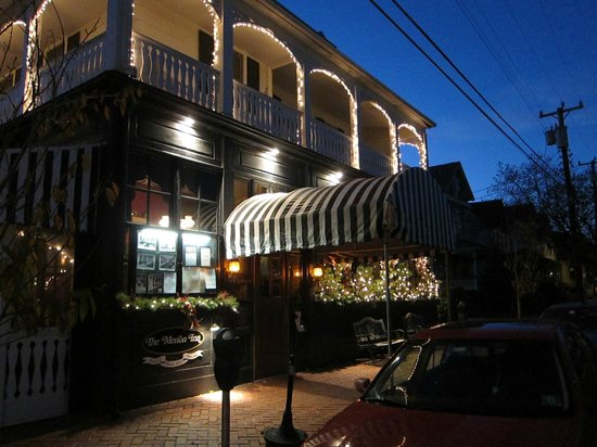 A view of The Merion Inn at dusk in November.