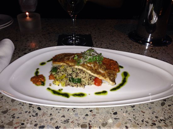 Harpers Landing Grill Hub Restaurant : The daily catch. Pickerel on quinoa.