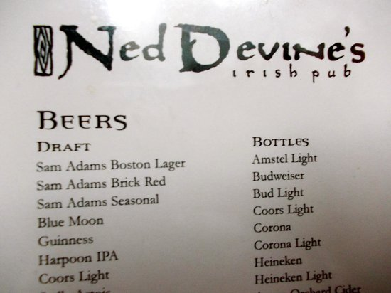 Ned Devines Faneuil Hall : Beer Selection at the Pub