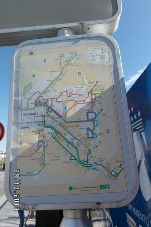 Hostal Ibis Budget Granada: Bus map near the hotel