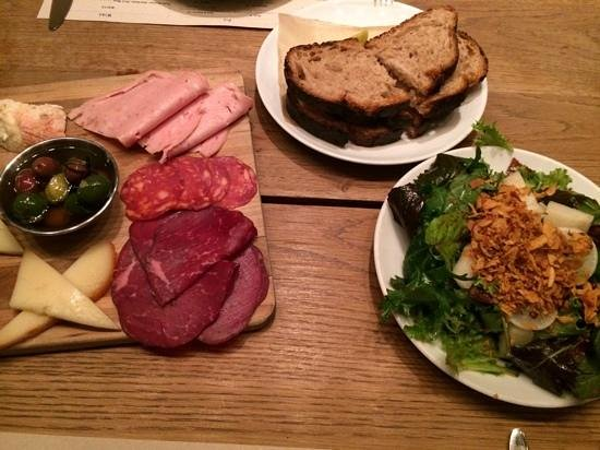 Company Restaurant: Cheese and charcuterie platter plus salad