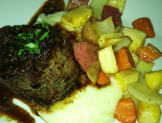 Abreo Restaurant: beef tenderloin with roasted root veggies and mashed potatoes