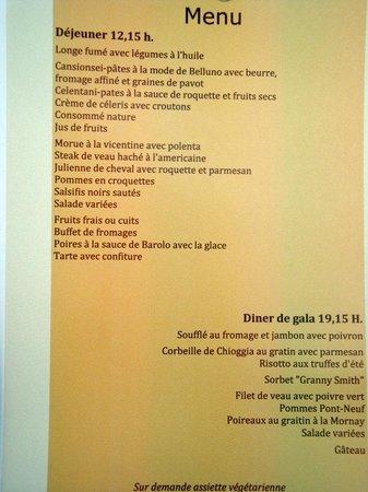 Continental Terme Hotel: Le menu de la soirée de gala
