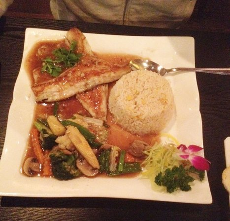 Try Thai: Grilled Fillet of Seabass serve with garlic sauce