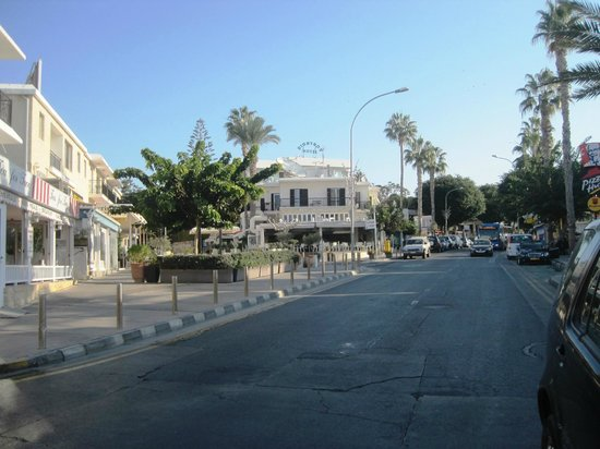 """Dionysos Central Hotel : Looking towards the hotel from """"The Baths"""" near the seafront"""