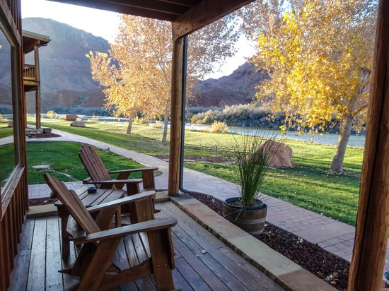 our front porch, facing the river and red cliffs.