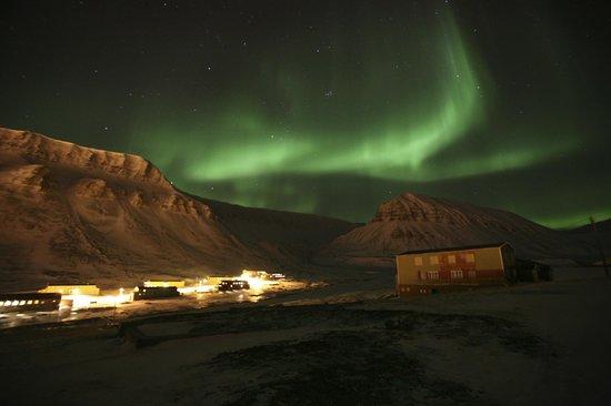 Aurora borealis over Longyearbyen.
