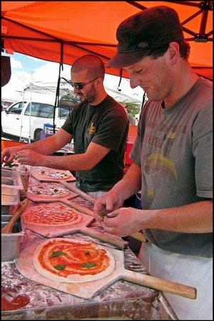 Marin County Farmers' Market--San Rafael: Delicious Pizza in the making