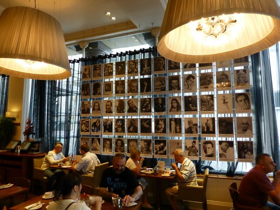 Hard Days Night Hotel: Breakfast. Photos on wall are all from Sgt Pepper cover