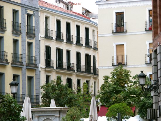 Hostal Bruna: outside looking at hostal building in distance