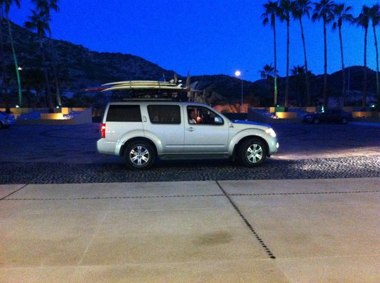 Surf in Cabo: Riding in style after an early morning pickup.