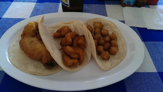 Taqueria Rossy: Fish, shrimp and scallop tacos, before you get to dress them up.