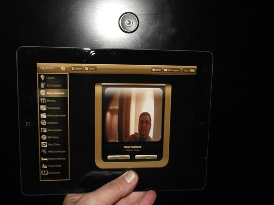 ITC Grand Chola Chennai The iPad - webcam on door can see it & The iPad - webcam on door can see it on the iPad and can open the ...