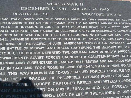 Veterans Memorial Park: War tablet
