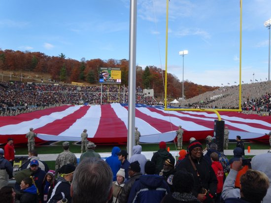 Michie Stadium: Flag covering field at halftime