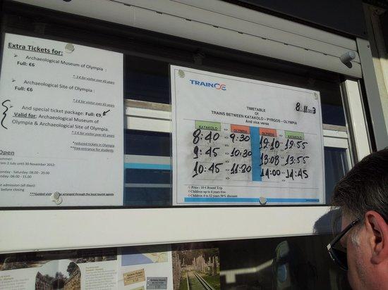 แองเชี่ยน โอลิมเปีย (อาร์ไชย่า โอลิมเปีย): katakolon train schedule for winter
