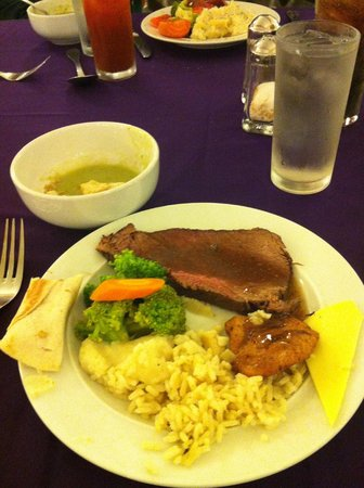 Hotel Cozumel and Resort: Delicious cilantro soup, pork with gravy, roll, rice w cheese, mashed potatoes, mini burrito