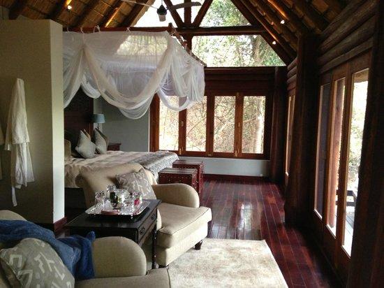 Royal Chundu Luxury Zambezi Lodges: Island Villa Number 4 Bedroom and Lounge Area