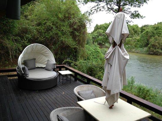 Royal Chundu Luxury Zambezi Lodges: Island Villa Number 4 Deck Area and River View