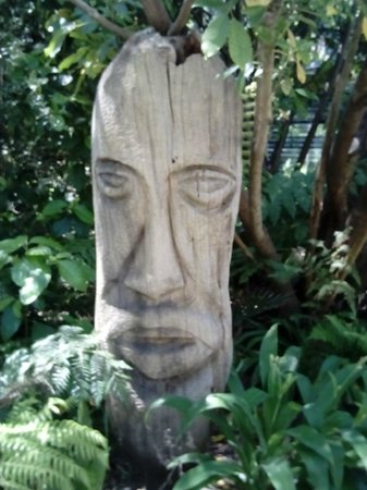 One of the carvings in the gardens