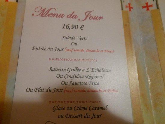 Hotel de la Poste : le menu