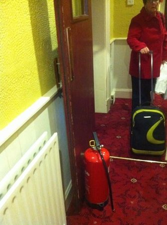 The Eaton Hotel: all the doors fire doors held open by fire extingushers!
