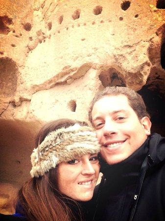 Puye Cliff Dwellings: With my husband up in Puye cliff!