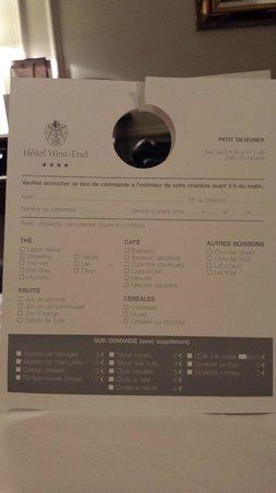 West-End Hotel: In room breakfast menu..