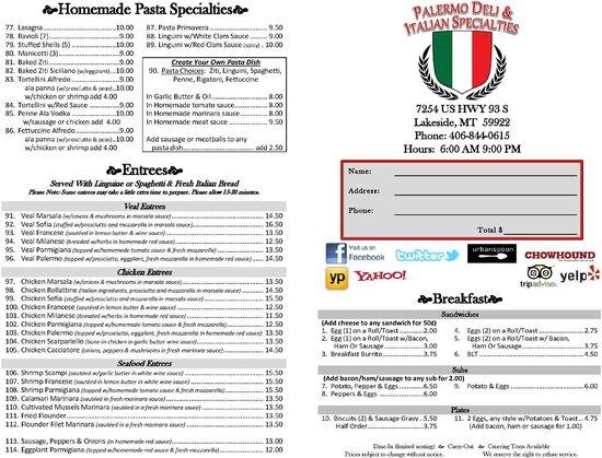 Palermo Deli & Italian Specialties: Menu #1