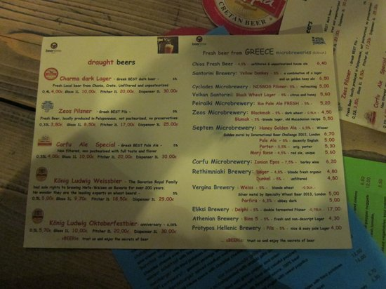 BeerTime: Beer menu