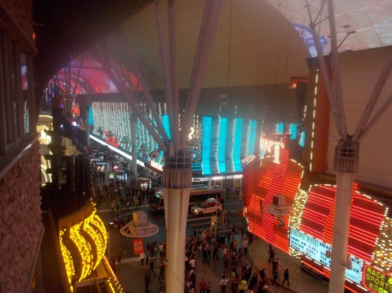 Top of Binion's Steakhouse: Blue outside lights of Binion's on Fremont Street