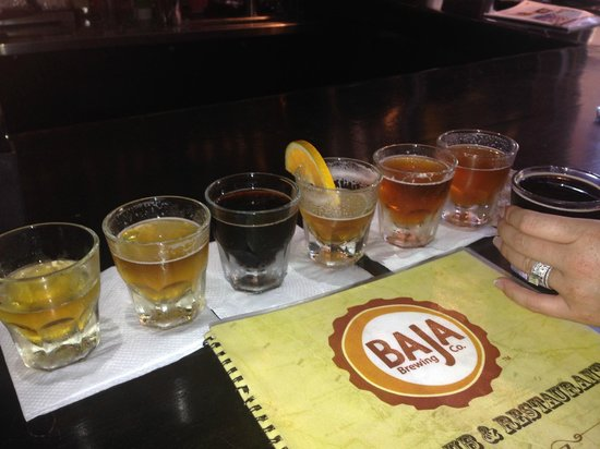 Flight of Beers offered at Baja Brewing Company