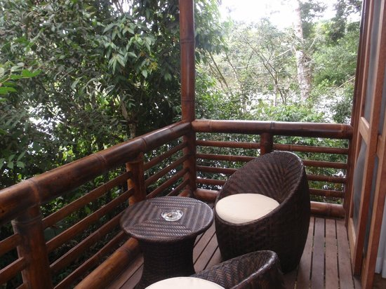 La Selva Amazon Ecolodge : balcony on room six - right on the lake - thru the trees!