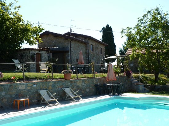 Agriturismo Il Tiglio: view from the pool to the accomodation .