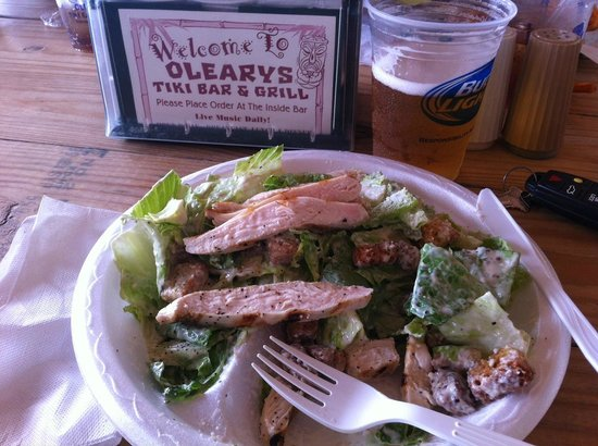 O'Leary's Tiki Bar & Grill: I was half way through, this great chicken ceaser salad