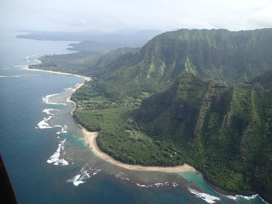Mauna Loa Helicopters Tours: Ke'e Beach and Tunnels Beach, seen from the air.