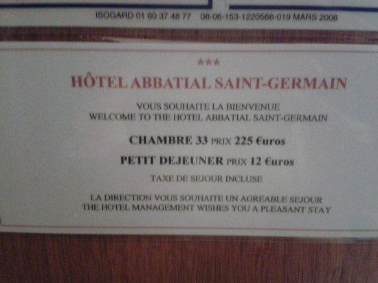 Hotel Abbatial Saint Germain: Zimmer