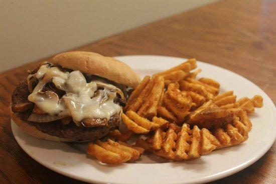 Potomac Street Grill : Mushroom Burger with Waffle Fries
