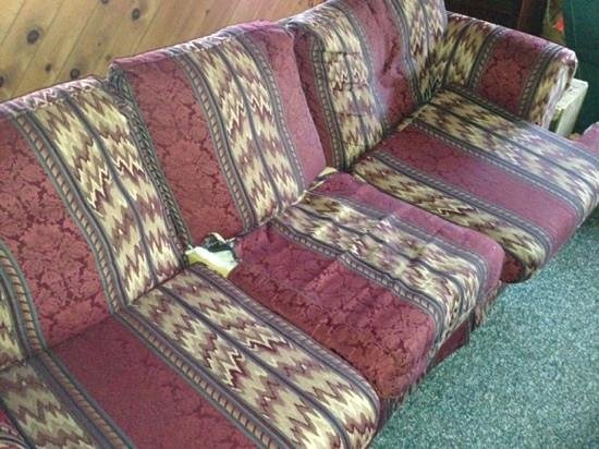Rustic Cabins: dogwood cabin couch should be on the curb
