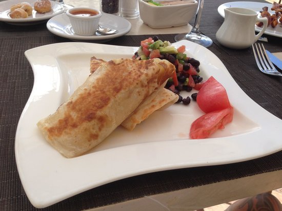 7 Seas Seafood Grille: Breakfast Burrito with black bean salad