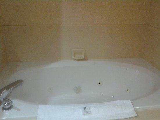 Hampton Inn and Suites Charlotte - Arrowood Rd.: bathroom in king suite w/kitchen with stand up shower and separate jetted tub
