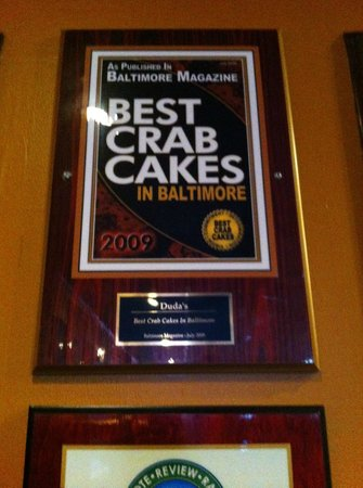 Duda's Tavern: Crab Cake Award (one of many)