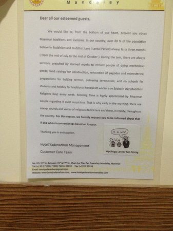 Hotel Yadanarbon: Apology note for the noise