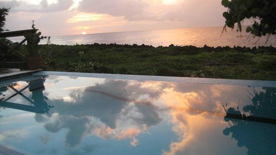 the infinity pool at Cocolobo during sunset